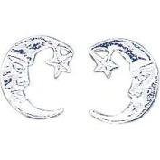 Sterling Silver Moon Stud Earrings Ear Jewellery