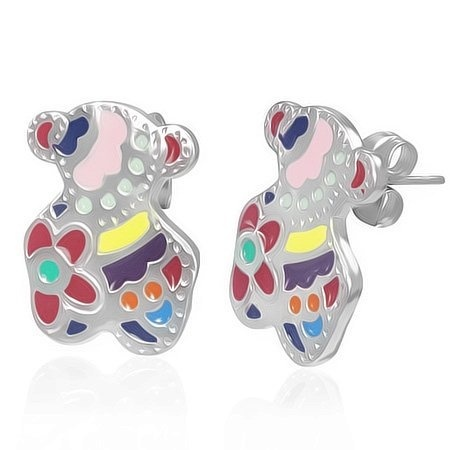 7f7bcedbc767 Stainless Steel Tous Teddy Bear Inspired Multi Colour Earrings Studs by The  Displayer - Shop Online for Jewelry in the United States