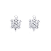 14K White Gold Plated Sterling Silver Small Turtle CZ Stud Screw Back Earrings For Children & Women