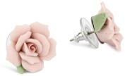 1928 Bridal Classic Porcelain Rose Button Earrings