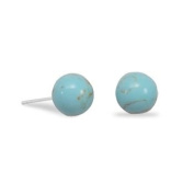 Rhodium Plated Reconstituted Turquoise Stud Earrings