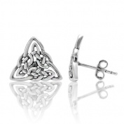 925 Sterling Silver Small Trinity Knot Triangle Celtic Post Stud Earrings 13 mm Women Jewellery - Nickel Free