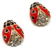 Precious Crystal Accented Small 1.3cm Red and Black Enamel Ladybug Stud Earrings Gold Plated