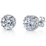 4 Carat TCW High Quality Casted Sterling Silver Stud Earrings With Clear Cubic Zirconia