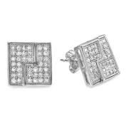 Platinum Plated Clear CZ Cubic Zirconia Cube Shaped Hip Hop Iced Cube Stud Earrings