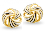 JanKuo Two Tone Silver and Gold Antique Spiral Knots Clip Earrings