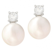 JanKuo Silver Tone 8mm Freshwater Pearl and Cubic Zirconia CZ Titanium Post Stud Earrings with Gift Box
