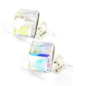 "Earrings silver ""Cubes De Cristal"" boreal white 6 mm (0. 24'')."