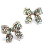 Aurora Borealis Bow Post Earrings