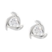 Sterling Silver Cubic Zirconia Swirl Button Earrings