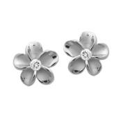 Silver Plumeria Stud Earrings, 12mm