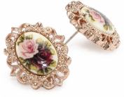 1928 Jewellery Victorian Revival Golden Rose Stud Earrings