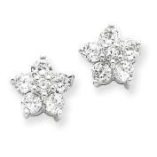 Sterling Silver Cz Flower Post Earrings