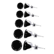 TDEZ-ROUND-SET-B Sterling Silver 3mm 4mm 5mm 6mm and 7mm Round Black Cubic Zirconia Stud Earrings Set