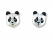 Panda Face Sterling Silver And Enamel Earrings