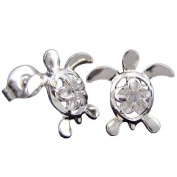 925 Silver Turtle & Plumeria Stud Earrings Hawaiian Jewellery