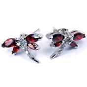 Sterling Silver Garnet Dragonfly Stud Earrings