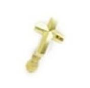 14k Yellow Gold Diamond-cut Cross Body Piercing Jewellery Nose Stud - JewelryWeb