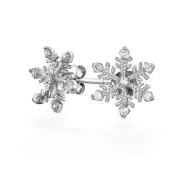 Bling Jewellery Winter Snowflake Stud Earrings CZ 925 Sterling Silver