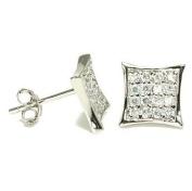 Kite Shape Diamond Pave CZ Sterling Silver Stud Earrings 7mm