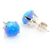 Sterling Silver 6mm created Azure Blue Australian Opal Crown Set Cab Stud Earrings