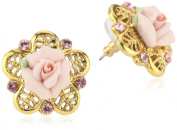 1928 Jewellery Porcelain Rose Gold-Tone and Pink Stud Earrings