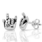 "925 Oxidised Sterling Silver ""I Love You"" Hand Sign Post Stud Earrings 10 mm Jewellery for Women, Teens, Girls - Nickel Free"