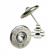 Classy, Dainty .308 Nickel Bullet Head Earrings with. Crystals