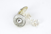 Classy, Dainty Winchester .243 Nickel Bullet Head Stud Earrings with. Crystals
