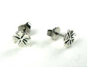 Four Leaf Clover Ear Studs Sterling Silver Tiny Lucky Charm Post Earrings Good Luck Jewellery