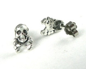 Skull and Crossbones Ear Studs Sterling Silver Pirate Post Earrings Nautical Jewellery