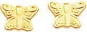 14K Yellow Gold Butterfly Screwback Earrings Jewellery