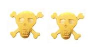14K Yellow Gold Skull & Crossbones Cross Bones Post Stud Earrings Small