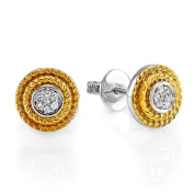 0.10 Carat (ctw) Sterling Silver Round Diamond 14k Gold Plated Cluster Fancy Round Earrings