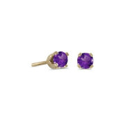 14k Yellow Gold Round Natural Amethyst Stud Earrings