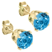 1.20 Ct Round 5mm Blue Topaz 14K Yellow Gold Stud Earrings