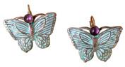 Verdigris Patina Brass Butterfly Earrings - Amethyst Semi-precious Stones