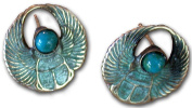 Verdigris Patina Solid Brass Egyptian Motif Scarab Earrings - Turquoise