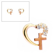 10KT Two Tone Gold Heart and Cross Earrings