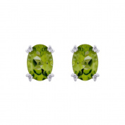 Sterling Silver Prong Set 7 x 5 MM Natural Peridot Earring Studs