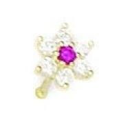 14k Yellow Gold Red CZ Flower Body Piercing Jewellery Nose Stud - JewelryWeb