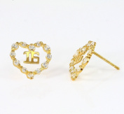 14k Yellow Gold Sweet Sixteen (16) CZ Stud Earring