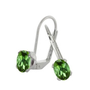 1.70 Ct Oval Green Tourmaline Silver Plated 4-prong Leverback Earrings 7x5mm