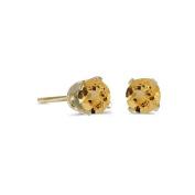 14k Yellow Gold Round Citrine Stud Earrings