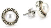 Judith Jack Sterling Silver Freshwater Pearl with Marcasite Pave Button Earrings
