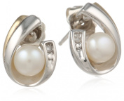 S & G Sterling Silver and 14k Yellow Gold 5mm Freshwater Cultured Pearl and Diamond Earrings