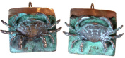 Etched Verdigris Patina Brass Crab Earrings