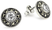 Judith Jack Sterling Silver Cubic Zirconia with Marcasite Pave Stud Earrings