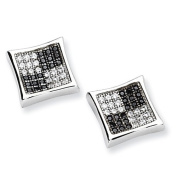 Sterling Silver White & Black Cz Brilliant Embers Polished Post Earrings