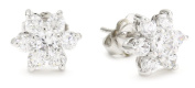 "CZ by Kenneth Jay Lane ""Basics"" Floral Rounds Cubic Zirconia Stud Post Earrings"